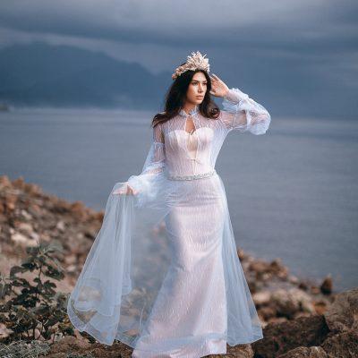 цветное свадебное платье в морском стиле стильное свадебное платье голубого, белого цвета капучино прокат Минск