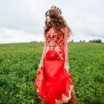 красное свадебное платье, красное платье