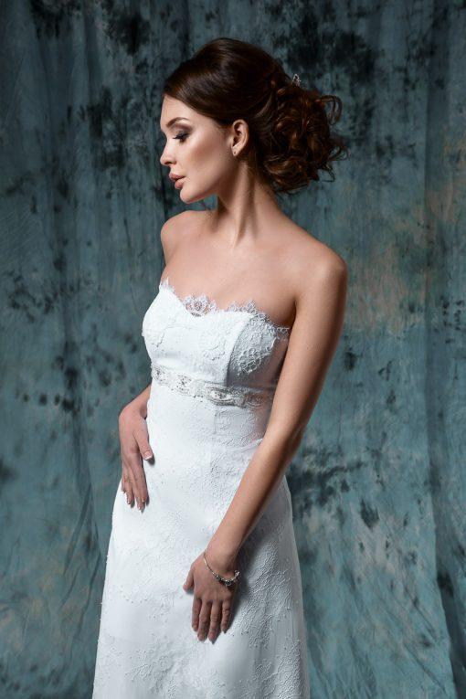 Кружевное свадебное платье силуэта Ампир покупка центр Минск