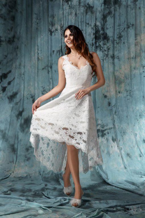 Короткое кружевное свадебное платье 46 размера купить в Минске
