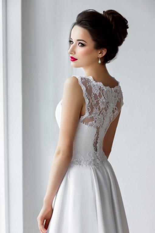 Свадебное платье с кружевной майкой и атласной пышной юбкой купить в прокат Минск
