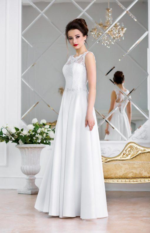 Белое свадебное платье с атласной юбкой со складками купить в Минске