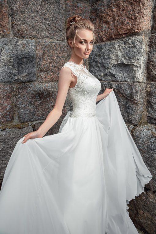 Свадебное платье из кремового шифона прокат Минск