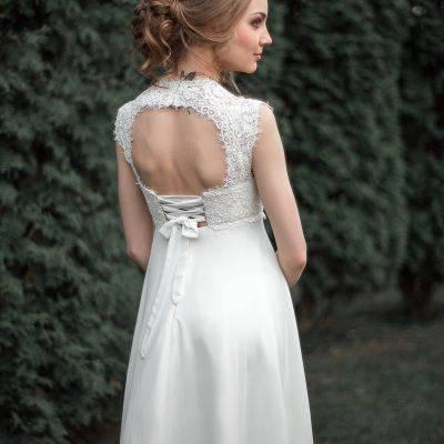 купить Кружевное свадебное платье 2016 Силуэта Ампир с открытой спинкой купить в Минске
