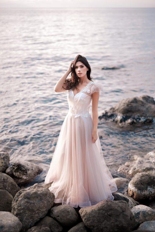 Летящее розовое свадебное платье Минск