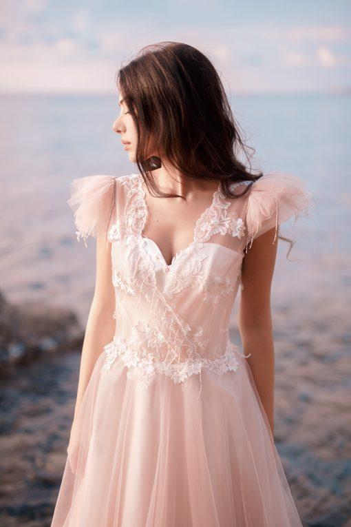 Пудровое свадебное платье купить Минск